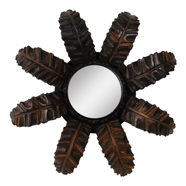 French Wood Leaves Sunburst Mirror - Image 1 of 4