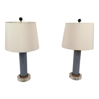 Modern Asian Porcelain & Lucite Tall Lamps - A Pair