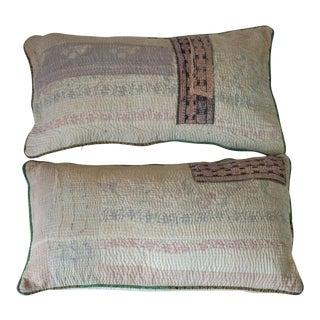 Boho Chic Kantha Pillows - A Pair
