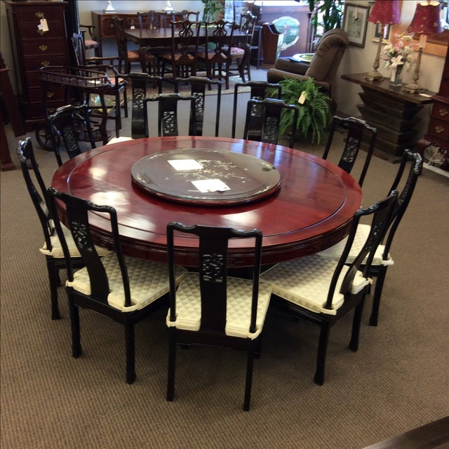 """72"""" Rosewood Table With Lazy Susan Dining Set - Image 2 of 9"""