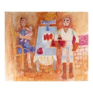 Family Dinner Still Life, Gouache Painting, Circa 1960s