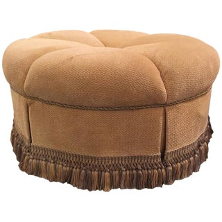 Circular Finely Upholstered & Lined Ottoman with a Tassel