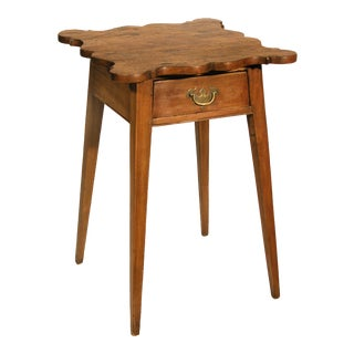 Cherry Country Hepplewhite Bedside Table with Splayed Legs & Shaped Top