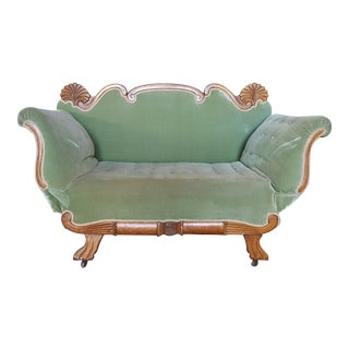 Antique Victorian Chaise Green Loveseat