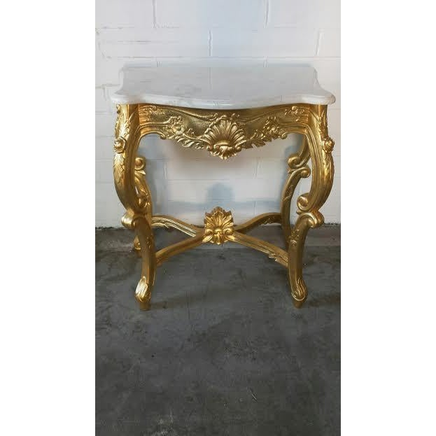 French Rococo Coffee Table: French Rococo XV Marble Top Console Table