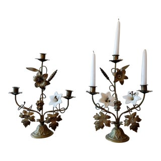 Antique Porcelain Flower Candle Holders - A Pair