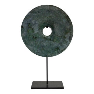 Chinese Natural Green Stone Feng Shui Round Good Luck Display