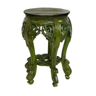 Small Green Stained Teak Side Table
