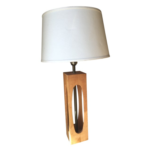 mid century brass and wood table lamp chairish. Black Bedroom Furniture Sets. Home Design Ideas