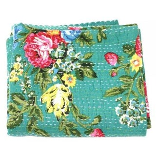 Green Floral Kantha Throw - Queen