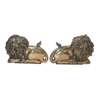 Brass Lion Bookends - A Pair