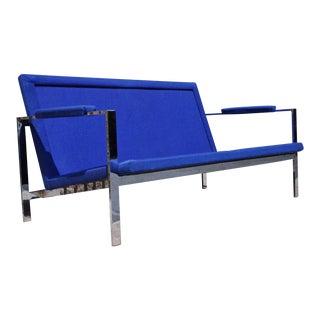 Vintage Milo Baughman Style Mid-Century Modern Blue Chrome Flat Bar Settee Loveseat Sofa
