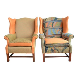 Earth Tone Wingback Chairs - A Pair
