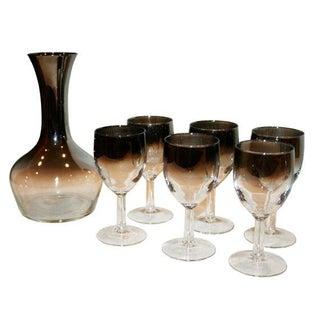 Vintage Silver Ombre Glass Carafe & Cordial Set