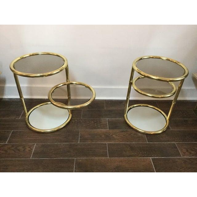 1970's Swivel Brass Side Tables - Image 5 of 11