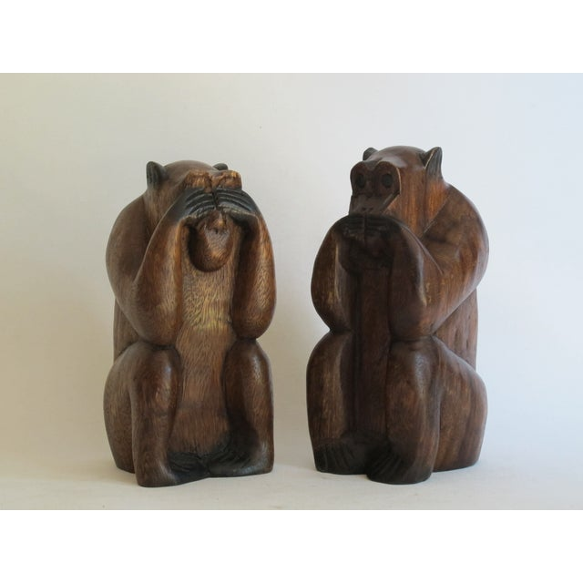 Wooden Monkeys - Pair - Image 3 of 8