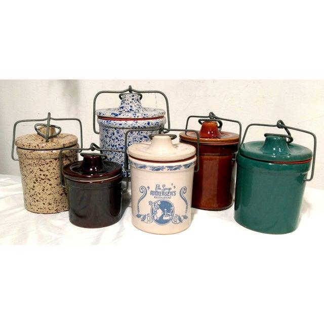 Vintage Latch Top Crock Jars- Set of 6 - Image 2 of 5