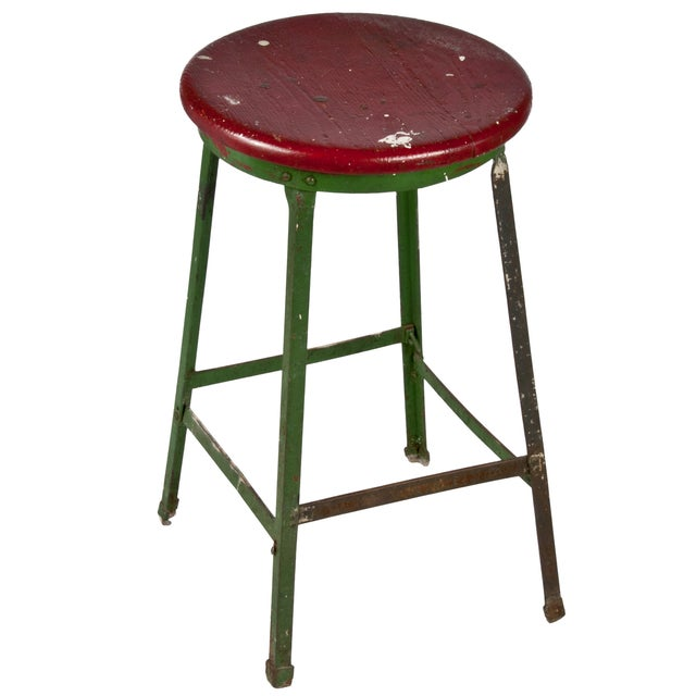 Angle Iron Industrial Drafting Stool - Image 1 of 2