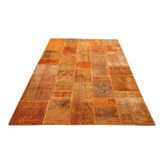 Vintage Turkish Overdyed Patchwork Oushak Rug - 5′7″ × 8′2″