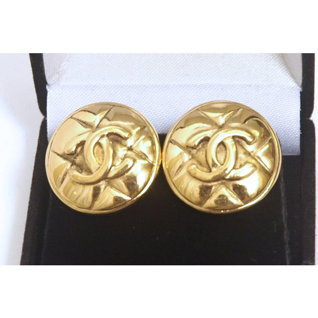Image of Chanel Gold Plated Monogram Button Earrings