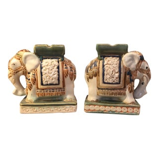 Pair of Vintage Ceramic Elephant Bookends