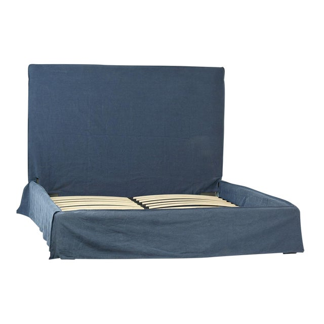 Image of Dark Blue Fabric Bed Frame Queen