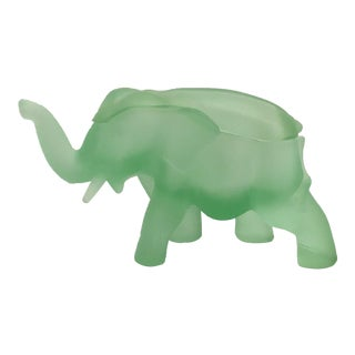 Vintage Frosted Glass Elephant Jar