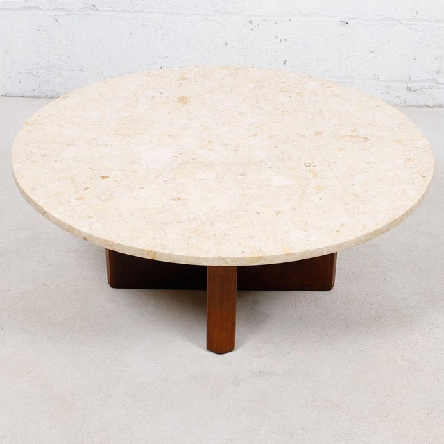 "Travertine Marble Top Coffee Table with ""X"" Base - Image 5 of 9"