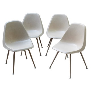 Mid-Century Cream Bucket Chairs - Set of 4