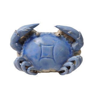 Light Blue Handmade Clay Crab Shape Wall Hanging Vase