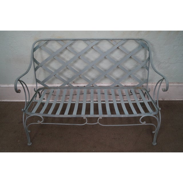 Custom Floral Cushion Iron Patio Settee - Image 9 of 10