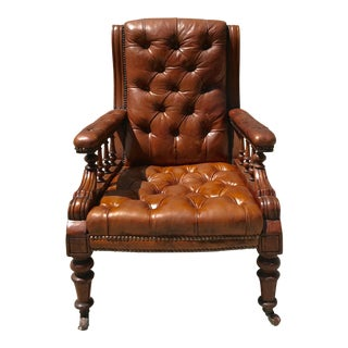 Mahogany Tufted Leather Library Chair