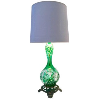 Vintage Bohemia Cut to Clear Crystal Emerald Lamp