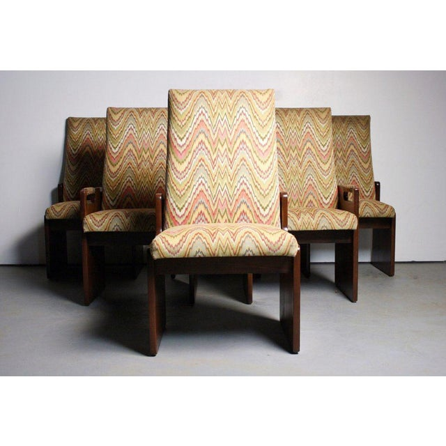 Lane Brutalist Walnut Dining Chairs - Set of 6 - Image 6 of 6
