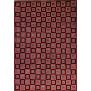 "Contemporary Modern Hand Woven Wool Rug - 6'3"" X 9'"