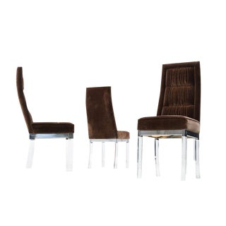 Mid-Century Chocolate Velvet Lucite Chairs - Set of 3