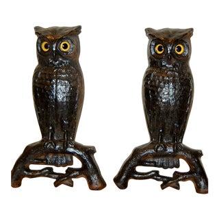 Cast Iron Owl Andirons- A Pair