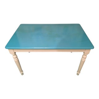 Teal & White Wooden Dining Table