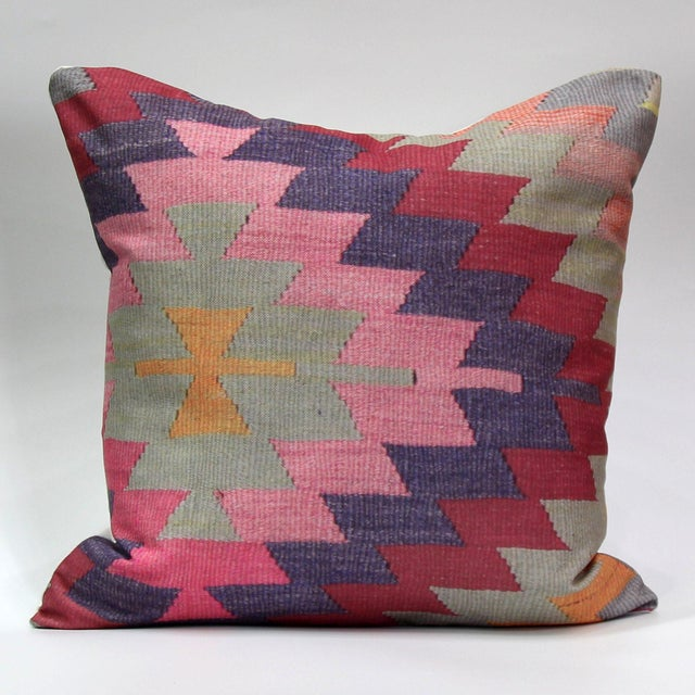 Diamond Pattern Kilim Inspired Print Pillow - 18'' - Image 3 of 8