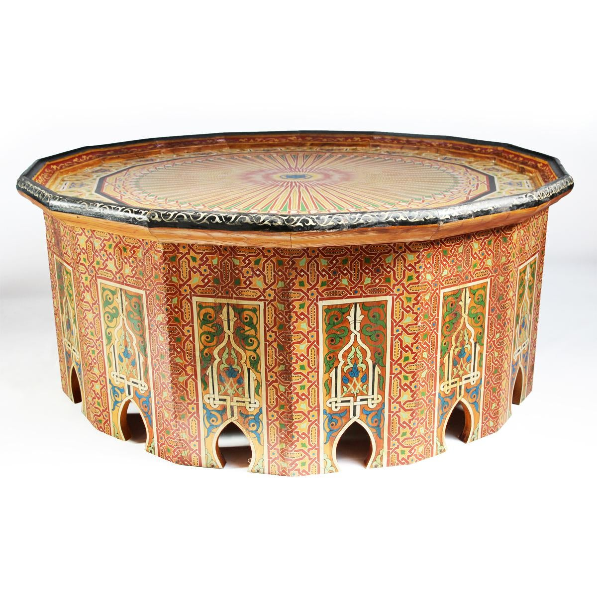 Vintage Hand Painted Moroccan Coffee Table   Image 2 Of 7