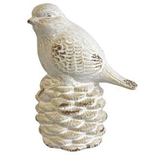 White Bird on a Pine Cone Figurine