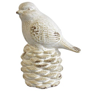 White Bird on a Pine Cone Figurine