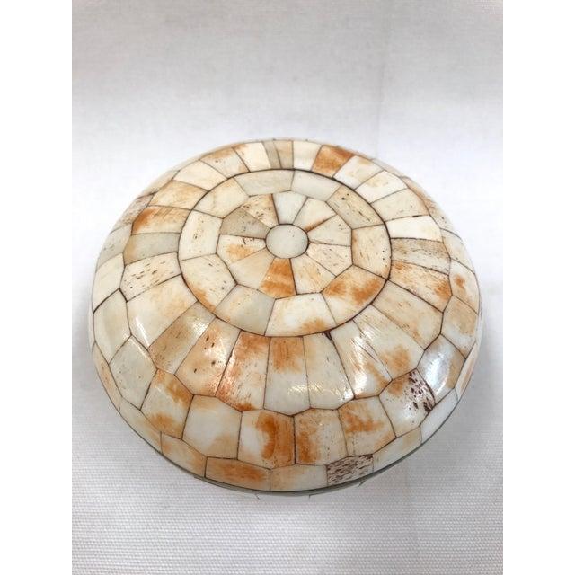 Vintage Trinket Box Tessellated Bone Over Brass - Image 4 of 6