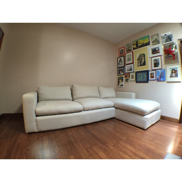 Modern Cotton/Linen Blend Couch with Chaise - Image 3 of 7