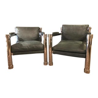 Bernhardt Mid-Century Suede & Chrome Chairs - A Pair