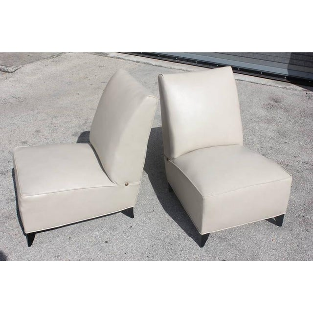 French Art Deco Armless Club Chairs - Pair - Image 8 of 8