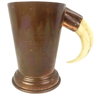 English Copper Engraved Cup with Tusk Handle