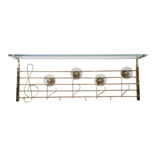 Rare Italian Brass and Glass Music Note Design Coat/Hat Rack