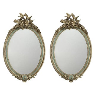 Early 20th Century French Louis XVI Painted & Gilt Oval Carved Mirrors - A Pair