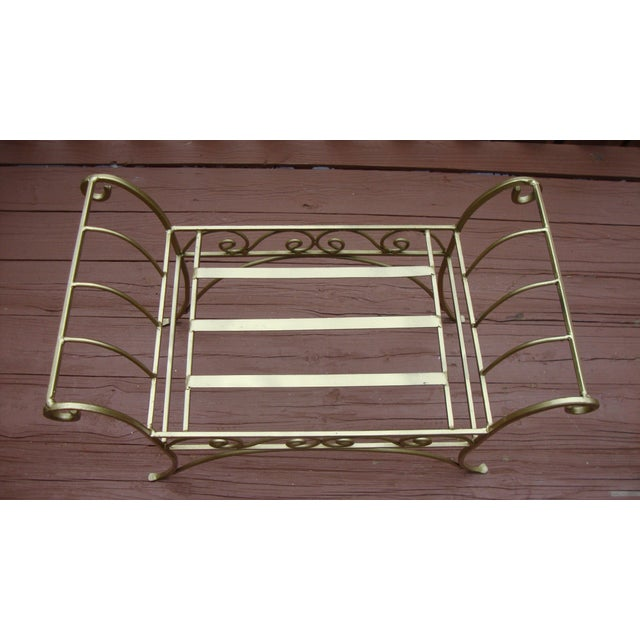 Image of Metal French Art Deco Scroll Bench in Gold Tone